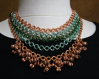 Egyptian Inspired Multi-Chain Chainmaille Copper Necklace