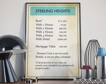 Sterling Heights| Monopoly| Monopoly Poster| Board Game Wall Art| Michigan Poster| Board Games| Monopoly Decor| Monopoly Art| Monopoly Print