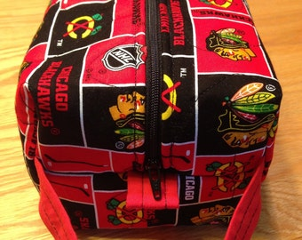 Quilted Boxy Pouch Makeup Travel Chicago Blackhawks NHL
