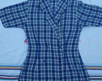 Plaid 80's blouse size small