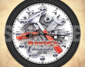Garage Tools - Man Cave - Personalized Decorative Wall Clock - Tool Man