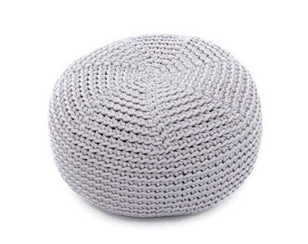 GRAY crocheted  KID size POUF/floor cushion/ hypoalergic pouf/rope  poof/bean bag chair/ Ottoman/ footstool/rustic pouf