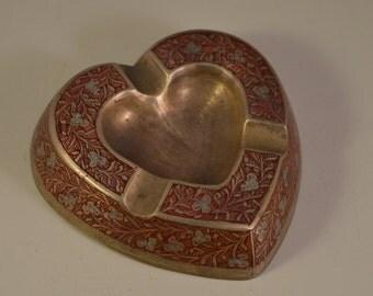 Vintage miniature ashtray heart, brass,enamel