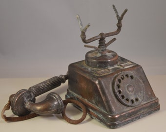 Vintage brass,telephone,miniature, decor,collections
