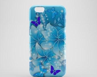 Blue Butterflies Floral Phone case,  iPhone X Case, iPhone 8 case,  iPhone 6s,  iPhone 7 Plus, iPhone 5 Case, SS153a