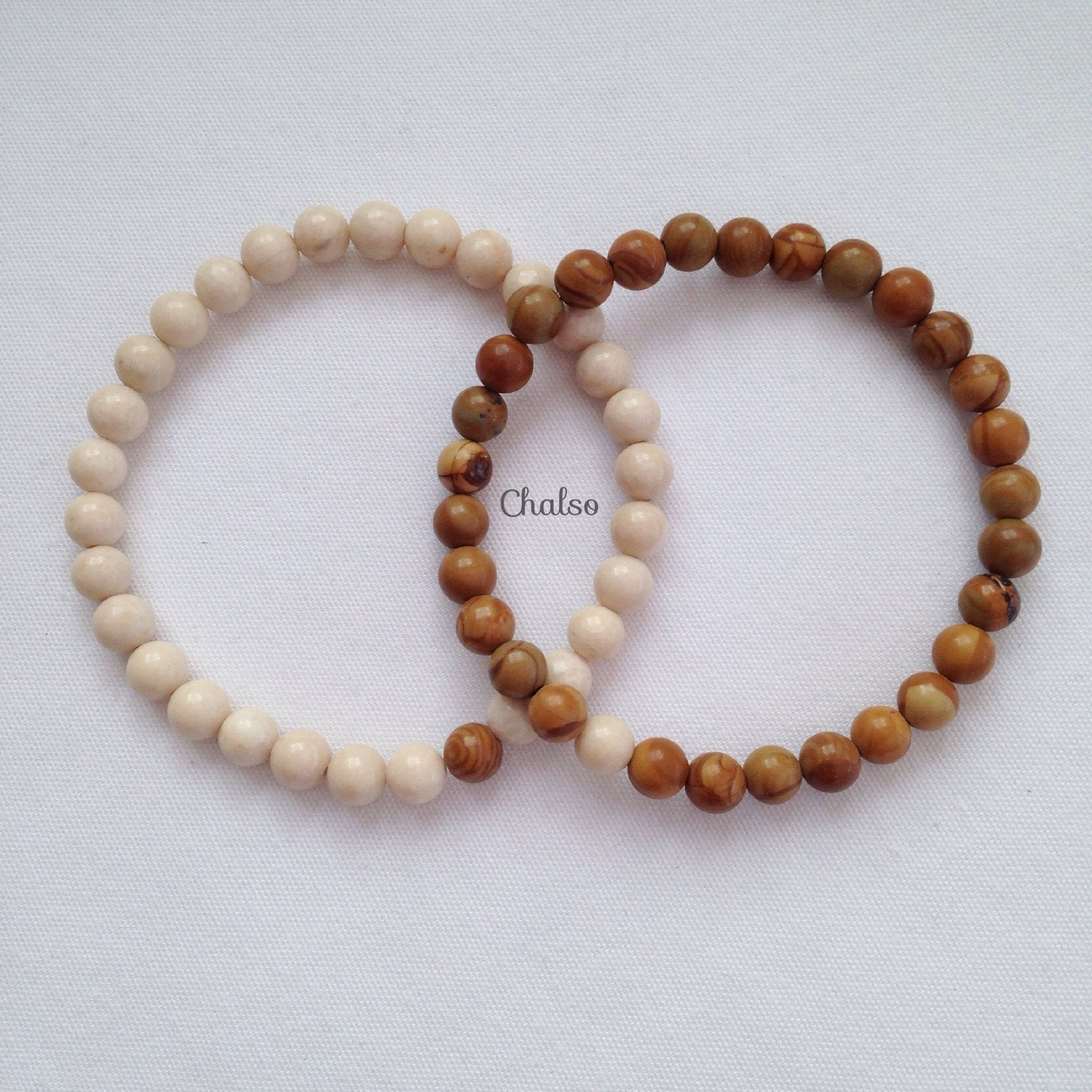 Couple bracelets Fossil Jasper and Sandalwood Jasper matching