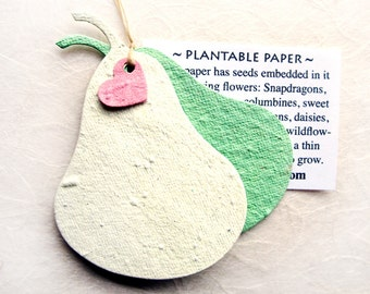 12 Plantable Perfect Pair Pear Wedding Favors - Personalized - Hungry Caterpillar Birthday Party Favors - Seed Paper Fruit - Pears