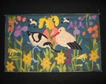 Vintage French Needle Point Canvas, Spring Flowers With Migrating Birds, Stork and Friends