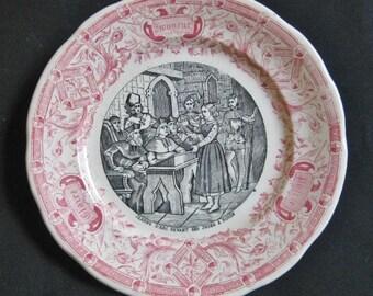 Jeanne D'ARC Theme plate, talking plate, Historic Scene, Sarreguemines French Ceramics