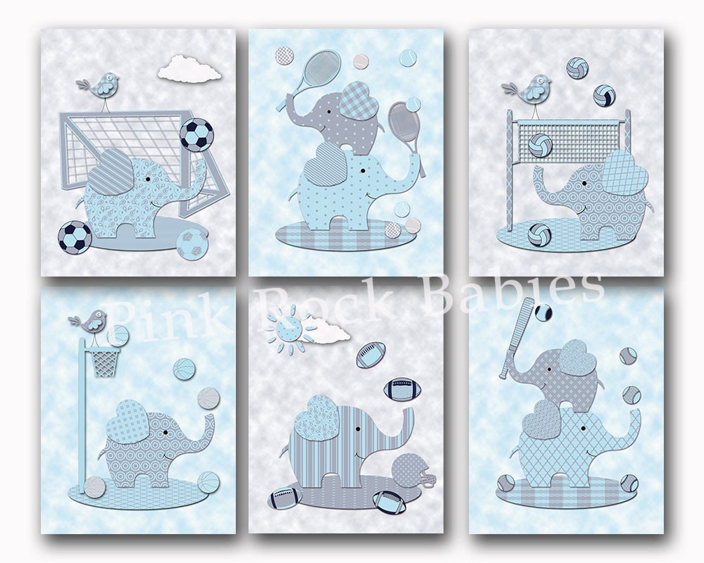 blue elephants nursery wall art baby boy room decor sports. Black Bedroom Furniture Sets. Home Design Ideas