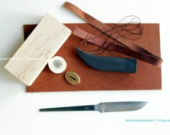 TWO SETS of  Scandinavia Handmade Knife Making Kit - 95mm/100mm Carboon Steel Blade 57HRC- Curly Birch Handle-Scandicraft Finland