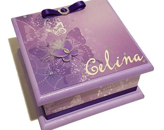 Purple Butterflies Treasure Box