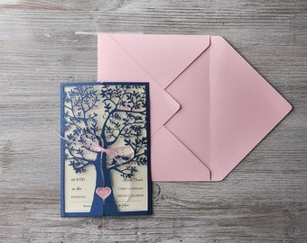 Tree Wedding Invitation Suite (20), Wedding Invitations Navy, Birds Wedding Invitations, Lovebirds Wedding Invitations,Navy Wedding Invites