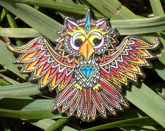 sacred electric forest festival glow in the dark owl lapel heady hat pin