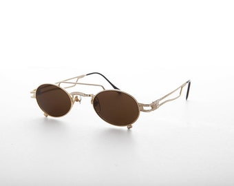 Small Steampunk Aviator Spectacles with Oval Lens- The Professor