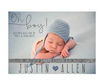 Birth Announcement, Photo Birth Announcement, Baby Birth Announcement, Baby Boy Birth Announcement, Boy BIrth Announcement, Digital
