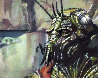 Christopher Johnson, District 9, oil painting, Strathmore watercolor board, alien, science fiction, insect, monster, space ship, small space