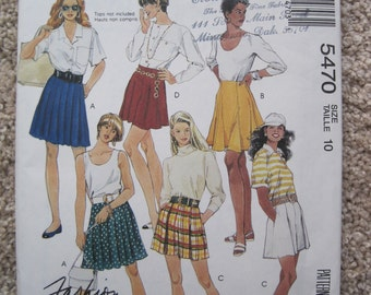 UNCUT Misses' Skirts and Tap Shorts - Size 10 - McCall's Pattern 5470 - Vintage 1991