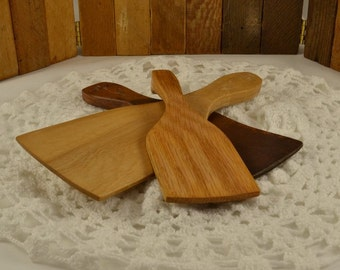 3 Primitive Wood Butter Paddles-  3 Sizes and Wood Types - Carved Flower - ChicMouseVintage