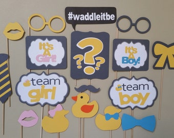 Gender Reveal Photo Booth Props - Waddle it be
