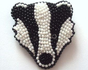 Badger brooch - bead embroidery animal brooch - black&white animal jewellery
