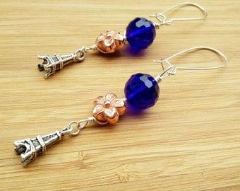 Eiffel Tower Earrings- Paris Earrings -Eiffel Tower Jewelry- Electric Blue Dangle & Drop Earrings -Cute Eiffel Tower Earrings-Rose Gold Stud