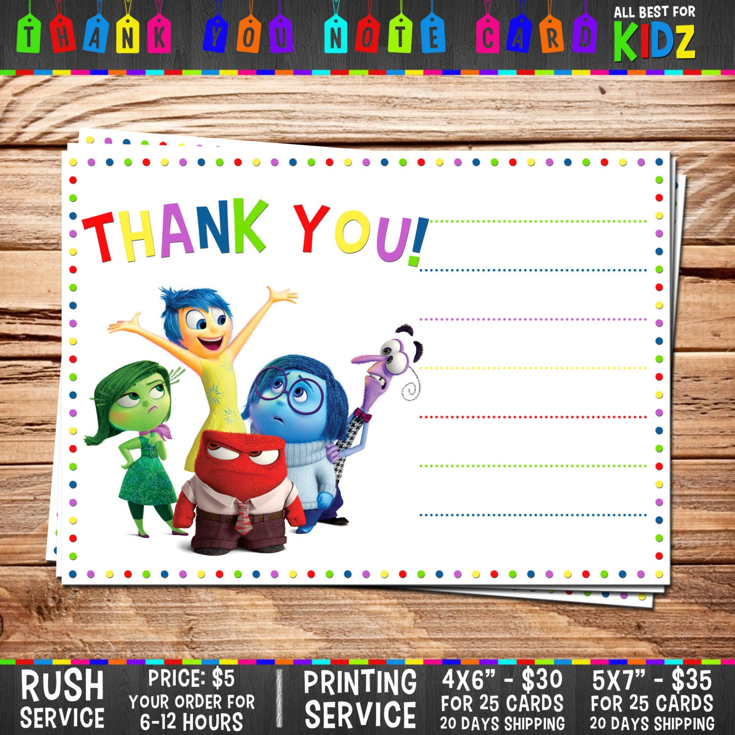 disney inside out thank you card note blank    by