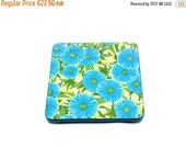 ON SALE Antique French formica trivet . With blue flowers and green grass . Floral pattern . Kitchen and table use and decor . Vintage 1960s