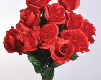 """New Silk Red Rose Bush, 12 Red Roses 3.5"""" in diameter, Fake Red Roses"""