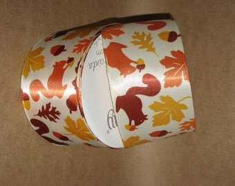 """New 4 yards 2-1/2"""" Oh Nuts, Wired Edge Squirrel & Nuts Harvest Ribbon, Satin Thanksgiving Ribbon"""