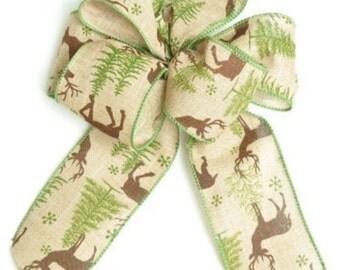 "New 2 yards Christmas Tree & Buck Wired 2-1/2"" Ribbon, Wired Natural Holiday Ribbon, Holiday Tree Ribbon"