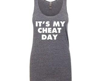 Women's Tank Top Workout Racerback Ladies Tank It's My Cheat Day