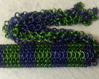 Purple & Green Chainmail BDSM Flogger