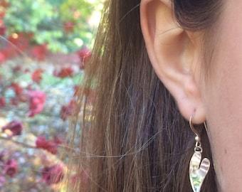 Handmade Silver Heart Dangle Earrings