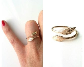Ring gold plated feather 750/000, tip of finger - ring pattern feather, ring sheet, adjustable size - 750 gold plated feather ring