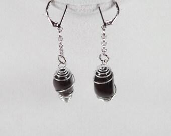 Apache Tears Earrings . Apache Tear Obsidian Rattings . Wire Wrapped Apache Tear Earrings . Reiki Healing Jewelry . Root Chakra Earrings
