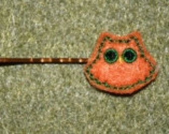 Owl Bobbi Pin Feltie Embroidery Machine Design for the 4x4 hoop
