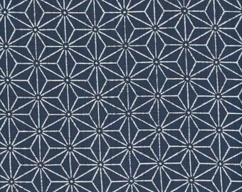 Indigo Grid - Sevenberry fabric Fat Quarters 100% cotton quilting dressmaking UK shop linen look large dots