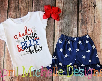 4th of July Embroidered Shirt, Red White and Blue Babe, Patriotic Embroidered Shirt, 4th of July, Memorial Day, Girls Holiday Shirt
