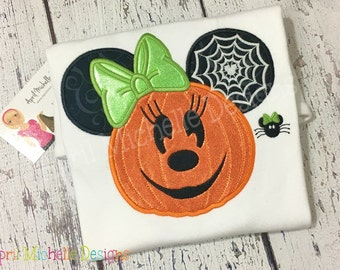 Girls Halloween Shirt, Minnie Jack-O-Lantern Mousehead Shirt, Embroidered Shirt, Personalized Shirt, Halloween Disney, Glow in the Dark