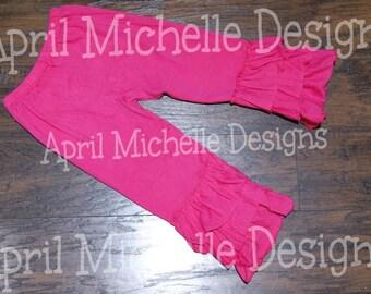 Hot Pink Ruffle Pants, Ready to Ship, Triple Ruffle Pants, Knit Ruffle Pants, Pink Christmas, Valentines Day Pants, Toddler Ruffle Pants