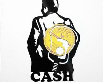 Johnny Cash Handmade Vinyl Record Art. The Man in Black, Cash. **With Mock Sun Record Folsom Prison Blues**