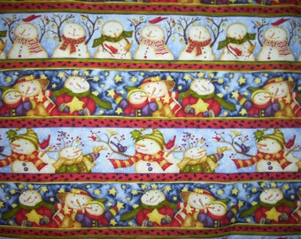 Holiday Spirit By Debi Heon for Henry Glass Fabrics with lots of snowman 1 Yard by 44 inches quality Fabric