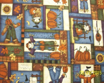 27 Inches of Leslie Beck Scarecrow and Pumpkins Fall  Fabric that is Rare and OOP very colorful