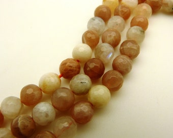8mm Natural Moonstone Beads Faceted Round 8mm Moonstone 8mm Faceted Moonstone Faceted Beads Faceted Stone Faceted Gemstone Faceted Mala