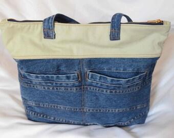 Repurposed Denim with Cotton Twill Bag