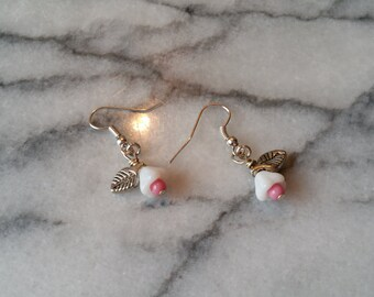 Silver Dangle Earrings with Milk Glass Flower Beads Handmade