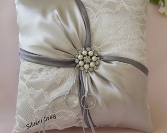 Silver/Gray ring bearer pillow, Wedding gray ring bearer pillow, Lace ring bearer pillow, Silver ring pillow