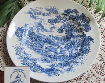 Vintage Wedgwood COUNTRYSIDE Blue and White Dinner Plate - Made in England