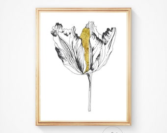 Home decor, Gold foil, Wall art, Gold flower Poppy prin, Poppy art Modern, Print, Printable, Wall art Poppy flower print, Downloadable print